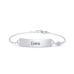 Classic Engravable Baby Bracelet with Birthstone