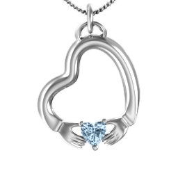 Tilted Heart Claddagh Pendant