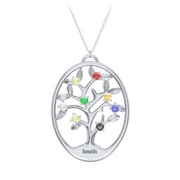 4-15 Stones Oval Family Tree Pendant