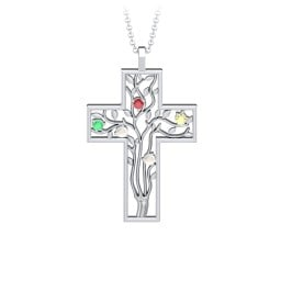 3 - 10 Stone Family Tree Cross Pendant