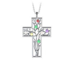 3 - 10 Stone Family Tree Cross Pendant