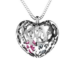 2 - 6 Stone Caged Hearts Pendant