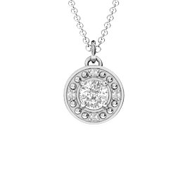 Dazzling Halo Pendant with Quad Accents