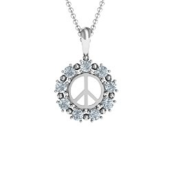 Peace Sign with Stones Pendant