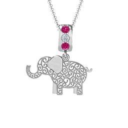 Filigree Elephant with Stones Pendant
