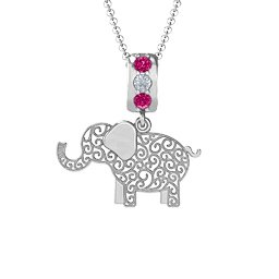 Filigree Elephant with Stones Pendant