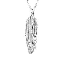 Feather with Accent Stones Pendant