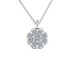 Cluster Setting Pendant with Centre Princess Cut Stone