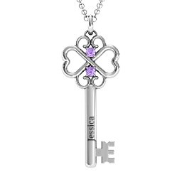 Hearts and Clover Infinity Key Pendant