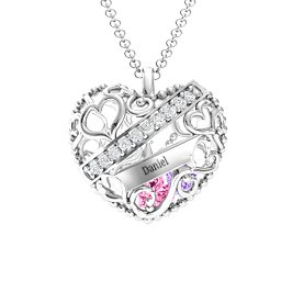 Engravable Heart Cage Pendant With 1 - 6 Heart Gemstones