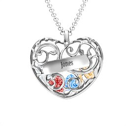Fancy Filigree Engravable Cage Heart Pendant