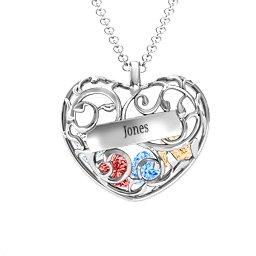 Fancy Filigree Engravable Cage Heart Pendant