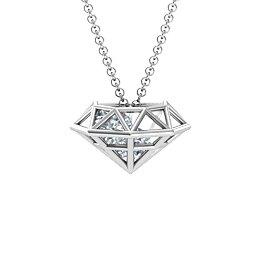 Flat Back Diamond Cage Pendant With 1 - 3 Gemstones