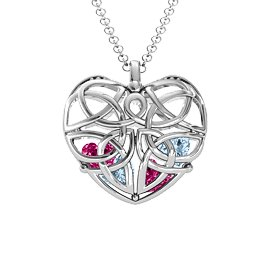 Celtic Trinity Knot Caged Heart Pendant