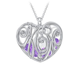 Cursive Mom Heart Cage Pendant With 2-8 Heart-Shaped Birthstones