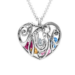 Cursive Mum Heart Cage Pendant With 2-8 Heart-Shaped Birthstones