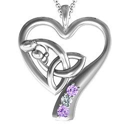 Eternal Love Celtic Trinity Knot Pendant with 1-3 Stones