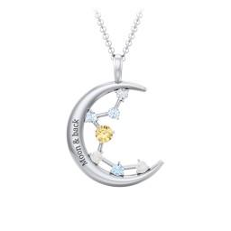Moon and Constellation Gemstone Pendant
