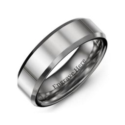 Men's Beveled Edge Polished Tungsten Ring