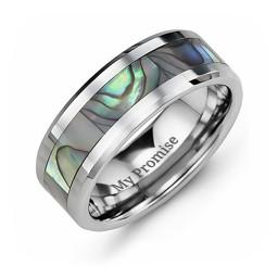 Men's Pearl Belt Tungsten Ring