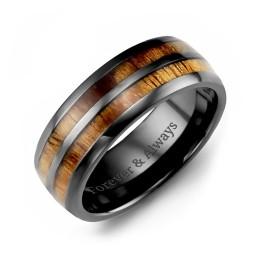 Ceramic Koa Wood Barrel Style Eternity Ring