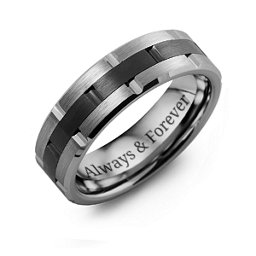 Men's Tungsten & Ceramic Grooved Brushed Ring