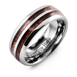 Men's Koa Wood Tungsten Band