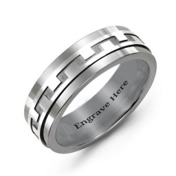 Mens Detailed Modern Tungsten Band Ring
