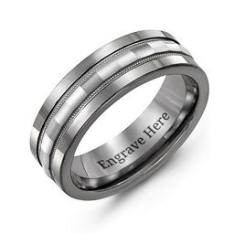 Men's Tungsten Grooved Center Band Ring