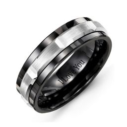 Men's Polished Center Tungsten Band Ring