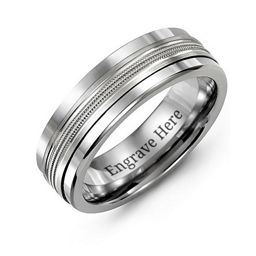 Men's Modern Beaded Center Tungsten Band Ring