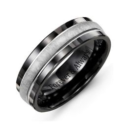 Men's Brushed Center Tungsten Band Ring