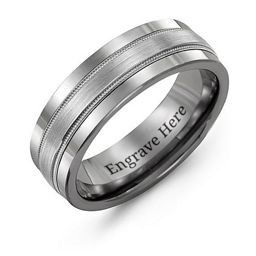 Men's Grooved Center Tungsten Band Ring
