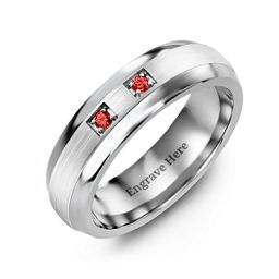 Two-Stone Spaced Brushed Dome Shaped Ring