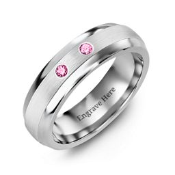 Two-Stone Spaced Flush Set Dome Shaped Ring
