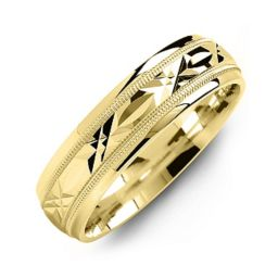 Classic Men's Ring with Diamond Cut Pattern