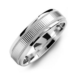 Ridged Men's Ring with Milgrain Edges