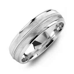 Textured Men's Ring with Centre Milgrain Detail