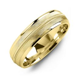 Textured Men's Ring with Center Milgrain Detail