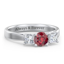 Three Stone Eternity with Princess Accents Ring