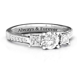 Three Stone Eternity [collection] Ring with Twin Accent Rows