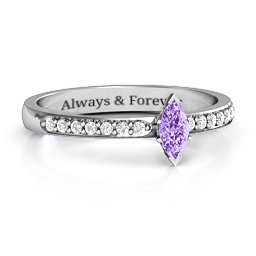Elegant Marquise with Accent Band Ring