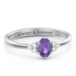 Solitaire Oval with Triple Accents Ring